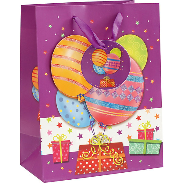 Пакет Шары на день рождения 18*23*10 смДетские подарочные пакеты<br>Характеристики товара:<br><br>• размер пакета: 18х23х10 см;<br>• материал: бумага, текстиль;<br>• толщина бумаги: 210 г/м2;<br>• цвет: фиолетовый;<br>• размер упаковки: 25х20х1 см;<br>• страна бренда: Россия.<br><br>Подарок, преподнесенный в праздничной упаковке, сделает праздник еще приятнее. Подарочный пакет «Шары на день рождения» выполнен в ярком фиолетовом цвете. С наружной стороны пакета нанесен рисунок с изображением подарков и звездочек, а также объемное изображение воздушных шариков. Для удобства переноски пакет оснащен двумя широкими ручками.<br><br>Пакет «Шары на день рождения» 18*23*10 см, Белоснежка можно купить в нашем интернет-магазине.<br>Ширина мм: 180; Глубина мм: 100; Высота мм: 230; Вес г: 50; Возраст от месяцев: 36; Возраст до месяцев: 2147483647; Пол: Унисекс; Возраст: Детский; SKU: 7454252;