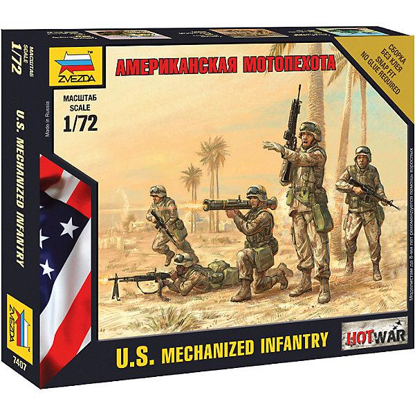 Сборная модель  Американская мотопехотаВоенная техника и панорама<br>Характеристики:<br><br>• возраст: от 7 лет;<br>• материал: пластик;<br>• масштаб: 1:72;<br>• количество элементов: 28;<br>• клей и краски: не в комплекте;<br>• в наборе: 5 солдатиков, отрядная подставка с флагом, карточка отряда;<br>• длина модели: 2,4 см;<br>• вес упаковки: 35 гр.;<br>• размер упаковки: 12х14,5х2 см;<br>• страна производитель: Россия.<br><br>Чтобы собрать модель Zvezda «Американская мотопехота» не понадобится клей. Элементы надежно скрепляются между собой. Каждая деталь легко и без повреждений отсоединяется от литника. Солдатиков можно раскрасить по цветам из инструкции.<br><br>Сборка улучшает внимательность, мелкую моторику и пространственное мышление. Готовые фигурки на отрядной подставке являются частью игровой системы Art of Tactic Hot War, выглядят реалистично и отличаются прочностью. Набор выполнен из качественных безопасных материалов.<br><br>Сборную модель «Американская мотопехота» можно купить в нашем интернет-магазине.<br>Ширина мм: 120; Глубина мм: 145; Высота мм: 20; Вес г: 35; Возраст от месяцев: 84; Возраст до месяцев: 2147483647; Пол: Унисекс; Возраст: Детский; SKU: 7459612;