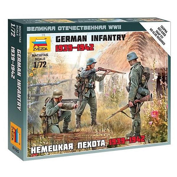 Сборная модель  Немецкая пехота 1939-1942ггВоенная техника и панорама<br>Характеристики:<br><br>• возраст: от 7 лет;<br>• материал: пластик;<br>• масштаб: 1:72;<br>• количество элементов: 28;<br>• клей и краски: не в комплекте;<br>• в наборе: 10 солдатиков, отрядная подставка с флагом 2 шт., карточка отряда 2 шт.;<br>• длина модели: 2,4 см;<br>• вес упаковки: 55 гр.;<br>• размер упаковки: 12х14,5х2 см;<br>• страна производитель: Россия.<br><br>Чтобы собрать модель Zvezda «Немецкая пехота 1939-1942 гг.» не понадобится клей. Элементы надежно скрепляются между собой. Каждая деталь легко и без повреждений отсоединяется от литника. Солдатиков можно раскрасить по цветам из инструкции.<br><br>Сборка улучшает внимательность, мелкую моторику и пространственное мышление. Готовые фигурки на отрядной подставке являются частью игровой системы Art of Tactic «Великая Отечественная», выглядят реалистично и отличаются прочностью. Набор выполнен из качественных безопасных материалов.<br><br>Сборную модель «Немецкая пехота 1939-1942 гг.» можно купить в нашем интернет-магазине.<br>Ширина мм: 120; Глубина мм: 145; Высота мм: 20; Вес г: 55; Возраст от месяцев: 84; Возраст до месяцев: 2147483647; Пол: Унисекс; Возраст: Детский; SKU: 7459619;