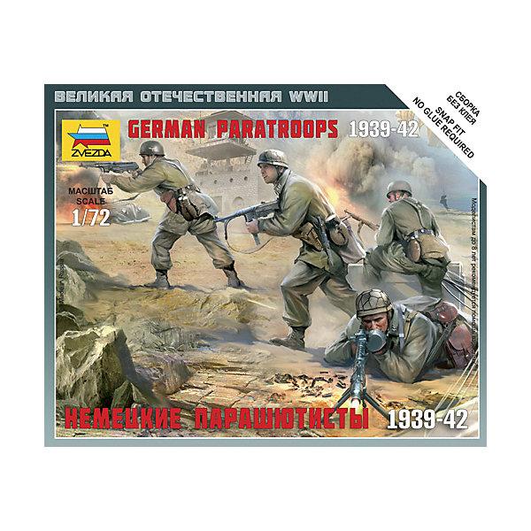 Сборная модель  Немецкие парашютистыВоенная техника и панорама<br>Характеристики:<br><br>• возраст: от 7 лет;<br>• материал: пластик;<br>• масштаб: 1:72;<br>• количество элементов: 15;<br>• клей и краски: не в комплекте;<br>• в наборе: 4 солдатика, отрядная подставка, карточка отряда;<br>• длина модели: 2,4 см;<br>• вес упаковки: 35 гр.;<br>• размер упаковки: 12х14,5х2 см;<br>• страна производитель: Россия.<br><br>Чтобы собрать модель Zvezda «Немецкие парашютисты» не понадобится клей. Элементы надежно скрепляются между собой. Каждая деталь легко и без повреждений отсоединяется от литника. Солдатиков можно раскрасить по цветам из инструкции.<br><br>Сборка улучшает внимательность, мелкую моторику и пространственное мышление. Готовые фигурки являются частью игровой системы Art of Tactic «Великая Отечественная», выглядят реалистично и отличаются прочностью. Набор понравится не только игрокам, но и моделистам-коллекционерам. Набор выполнен из качественных безопасных материалов.<br><br>Сборную модель «Немецкие парашютисты» можно купить в нашем интернет-магазине.<br>Ширина мм: 120; Глубина мм: 145; Высота мм: 20; Вес г: 35; Возраст от месяцев: 84; Возраст до месяцев: 2147483647; Пол: Унисекс; Возраст: Детский; SKU: 7459633;