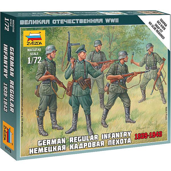Сборная модель  Немецкая кадровая пехотаВоенная техника и панорама<br>Характеристики:<br><br>• возраст: от 7 лет;<br>• материал: пластик;<br>• масштаб: 1:72;<br>• количество элементов: 21;<br>• клей и краски: не в комплекте;<br>• в наборе: 5 солдатиков, отрядная подставка с флагом, карточка отряда;<br>• длина модели: 2,4 см;<br>• вес упаковки: 40 гр.;<br>• размер упаковки: 12х14,5х2 см;<br>• страна производитель: Россия.<br><br>Чтобы собрать модель Zvezda «Немецкая кадровая пехота» не понадобится клей. Элементы надежно скрепляются между собой. Каждая деталь легко и без повреждений отсоединяется от литника. Модель можно раскрасить по цветам из инструкции.<br><br>Сборка улучшает внимательность, мелкую моторику и пространственное мышление. Готовые фигурки являются частью игровой системы Art of Tactic «Великая Отечественная», выглядят реалистично и отличаются прочностью. Набор понравится не только игрокам, но и моделистам-коллекционерам. Набор выполнен из качественных безопасных материалов.<br><br>Сборную модель «Немецкая кадровая пехота» можно купить в нашем интернет-магазине.<br>Ширина мм: 120; Глубина мм: 145; Высота мм: 20; Вес г: 40; Возраст от месяцев: 84; Возраст до месяцев: 2147483647; Пол: Унисекс; Возраст: Детский; SKU: 7459647;