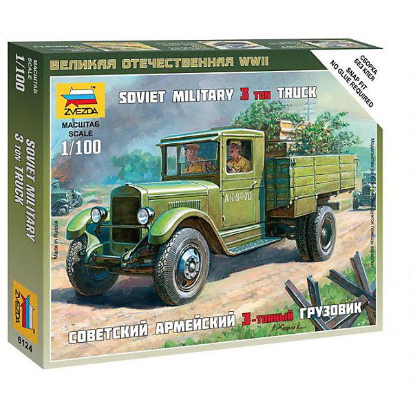Сборная модель  Советский грузовик ЗиС-5Автомобили<br>Характеристики:<br><br>• возраст: от 7 лет;<br>• материал: пластик;<br>• масштаб: 1:100;<br>• количество элементов: 18;<br>• клей и краски: не в комплекте;<br>• в наборе: грузовик, флаг отряда, карточка отряда;<br>• вес упаковки: 40 гр.;<br>• длина модели: 5,8 см;<br>• размер упаковки: 12х14,5х2 см;<br>• страна производитель: Россия.<br><br>Чтобы собрать модель Zvezda «Советский грузовик ЗиС-5» не понадобится клей. Элементы надежно скрепляются между собой. Каждая деталь легко и без повреждений отсоединяется от литника. Модель можно раскрасить по цветам из инструкции.<br><br>Сборка улучшает внимательность, мелкую моторику и пространственное мышление. Готовая фигурка является частью игровой системы Art of Tactic «Великая Отечественная», выглядит реалистично и отличается прочностью. Набор понравится не только игрокам, но и моделистам-коллекционерам. Набор выполнен из качественных безопасных материалов.<br><br>Сборную модель «Советский грузовик ЗиС-5» можно купить в нашем интернет-магазине.<br>Ширина мм: 120; Глубина мм: 145; Высота мм: 20; Вес г: 40; Возраст от месяцев: 84; Возраст до месяцев: 2147483647; Пол: Унисекс; Возраст: Детский; SKU: 7459662;