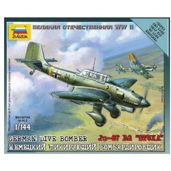 Сборная модель  Немецкий бомбардировщик Ju-87B2Военная техника и панорама<br>Характеристики:<br><br>• возраст: от 7 лет;<br>• материал: пластик;<br>• масштаб: 1:144;<br>• количество элементов: 8;<br>• клей и краски: не в комплекте;<br>• в наборе: самолет, подставка, карточка отряда, декаль;<br>• длина модели: 7,5 см;<br>• вес упаковки: 50 гр.;<br>• размер упаковки: 12х14,5х2 см;<br>• страна производитель: Россия.<br><br>Чтобы собрать модель Zvezda «Немецкий бомбардировщик Ju-87B2» не понадобится клей. Элементы надежно скрепляются между собой. Каждая деталь легко и без повреждений отсоединяется от литника. Модель можно раскрасить по цветам из инструкции.<br><br>Сборка улучшает внимательность, мелкую моторику и пространственное мышление. Готовая фигурка является частью игровой системы Art of Tactic «Великая Отечественная», выглядит реалистично и отличается прочностью. Набор понравится не только игрокам, но и моделистам-коллекционерам. Набор выполнен из качественных безопасных материалов.<br><br>Сборную модель «Немецкий бомбардировщик Ju-87B2» можно купить в нашем интернет-магазине.<br>Ширина мм: 120; Глубина мм: 145; Высота мм: 20; Вес г: 50; Возраст от месяцев: 84; Возраст до месяцев: 2147483647; Пол: Унисекс; Возраст: Детский; SKU: 7459680;