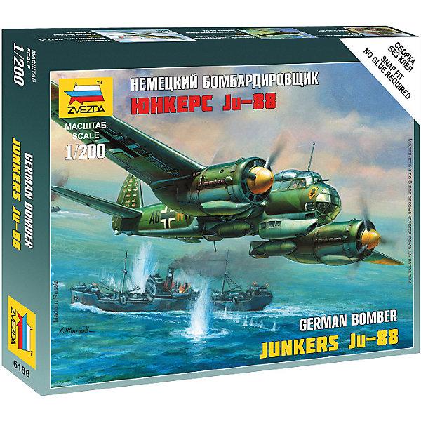 Сборная модель  Немецкий бомбардировщик Ju-88 A4Военная техника и панорама<br>Характеристики:<br><br>• возраст: от 7 лет;<br>• материал: пластик;<br>• масштаб: 1:200;<br>• количество элементов: 20;<br>• клей и краски: не в комплекте;<br>• в наборе: самолет, подставка, карточка отряда, декаль;<br>• длина модели: 7 см;<br>• вес упаковки: 60 гр.;<br>• размер упаковки: 12х14,5х2 см;<br>• страна производитель: Россия.<br><br>Чтобы собрать модель Zvezda «Немецкий бомбардировщик Ju-88 A4» не понадобится клей. Элементы надежно скрепляются между собой. Каждая деталь легко и без повреждений отсоединяется от литника. Модель можно раскрасить по цветам из инструкции.<br><br>Сборка улучшает внимательность, мелкую моторику и пространственное мышление. Готовая фигурка является частью игровой системы Art of Tactic «Великая Отечественная», выглядит реалистично и отличается прочностью. Набор понравится не только игрокам, но и моделистам-коллекционерам. Набор выполнен из качественных безопасных материалов.<br><br>Сборную модель «Немецкий бомбардировщик Ju-88 A4» можно купить в нашем интернет-магазине.<br>Ширина мм: 120; Глубина мм: 145; Высота мм: 20; Вес г: 60; Возраст от месяцев: 84; Возраст до месяцев: 2147483647; Пол: Унисекс; Возраст: Детский; SKU: 7459686;