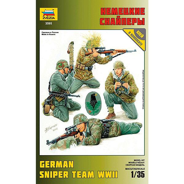 Сборная модель  Немецкие снайперыВоенная техника и панорама<br>Характеристики товара: <br><br>• возраст: от 3 лет;<br>• материал: пластик;<br>• в комплекте: 54 детали для сборки;<br>• масштаб: 1:35;<br>• размер фигурки: 5 см;<br>• размер упаковки: 25,7х16,3х3,7 см;<br>• вес упаковки: 88 гр.;<br>• страна бренда: Россия.<br><br>Сборная модель Звезда «Немецкие снайперы» позволит собрать 2 фигурки немецких снайперов и 2 фигурки наблюдателей, которые контролировали поле боя для того, чтобы снайпер мог сосредоточиться. <br><br>Сборные модели от компании Звезда отличаются высокой степенью детализации и позволяют собирать модели многих популярных видов военной техники. В процессе сборки ребенок расширяет свой кругозор, знакомится с видами техники и историческими фактами, развивает усидчивость, внимательность, аккуратность.<br><br>Сборную модель Звезда «Немецкие снайперы» можно приобрести в нашем интернет-магазине.<br>Ширина мм: 150; Глубина мм: 220; Высота мм: 30; Вес г: 90; Возраст от месяцев: 84; Возраст до месяцев: 2147483647; Пол: Унисекс; Возраст: Детский; SKU: 7459745;