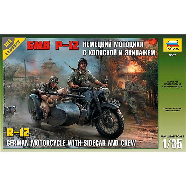 Звезда Сборная модель Немецкий мотоцикл Р-12 с коляской