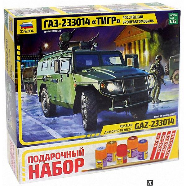 Сборная модель  Российский бронеавтомобиль ГАЗ ТИГРВоенная техника и панорама<br>Характеристики:<br><br>• возраст: от 10 лет;<br>• материал: пластик;<br>• масштаб: 1:35;<br>• количество элементов: 262;<br>• клей, краски, кисточка: в комплекте;<br>• длина модели: 16,2 см;<br>• вес упаковки: 630 гр.;<br>• размер упаковки: 25,8х16,2х3,8 см;<br>• страна производитель: Россия.<br><br>Модель для сборки Zvezda «Российский бронеавтомобиль ГАЗ Тигр» детально изображает одноименную военную технику. Каждый элемент легко и без повреждений отсоединяется от литника. В подарочном наборе есть все необходимое, чтобы создать завершенный образ машины.<br><br>Сборка улучшает внимательность, мелкую моторику и пространственное мышление. Понятная поэтапная инструкция поможет собрать точную копию прототипа.<br><br>Готовая модель выглядит максимально реалистично, подходит для тематических игр и станет достойной частью коллекции. Набор выполнен из качественных материалов, соответствующих стандартам безопасности.<br><br>Сборную модель «Российский бронеавтомобиль ГАЗ Тигр» можно купить в нашем интернет-магазине.<br>Ширина мм: 258; Глубина мм: 162; Высота мм: 38; Вес г: 630; Возраст от месяцев: 84; Возраст до месяцев: 2147483647; Пол: Унисекс; Возраст: Детский; SKU: 7459780;