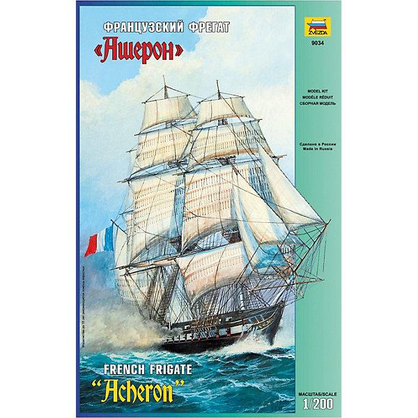 Сборная модель  Французский фрегат АшеронКорабли и подводные лодки<br>Характеристики:<br><br>• возраст: от 10 лет;<br>• материал: пластик;<br>• масштаб: 1:200;<br>• количество элементов: 222;<br>• клей и краски: не в комплекте;<br>• длина модели: 41 см;<br>• вес упаковки: 690 гр.;<br>• размер упаковки: 30,7х48,7х8,5 см;<br>• страна производитель: Россия.<br><br>Модель для сборки Zvezda «Французский фрегат Ашерон» детально изображает легендарный прототип. Каждый элемент легко и без повреждений отсоединяется от литника. Модель можно раскрасить по цветам из инструкции.<br><br>Сборка улучшает внимательность, мелкую моторику и пространственное мышление. Понятная поэтапная инструкция поможет собрать точную копию судна.<br><br>Готовая модель выглядит максимально реалистично, подходит для тематических игр и станет достойной частью коллекции. Набор выполнен из качественных материалов, соответствующих стандартам безопасности.<br><br>Сборную модель «Французский фрегат Ашерон» можно купить в нашем интернет-магазине.<br>Ширина мм: 487; Глубина мм: 307; Высота мм: 85; Вес г: 690; Возраст от месяцев: 84; Возраст до месяцев: 2147483647; Пол: Унисекс; Возраст: Детский; SKU: 7459835;
