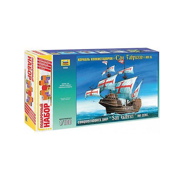 Сборная модель  Корабль Сан ГабриэльКорабли и подводные лодки<br>Характеристики:<br><br>• возраст: от 10 лет;<br>• материал: пластик;<br>• масштаб: 1:100;<br>• клей, краски, кисточка: в комплекте;<br>• декаль: да;<br>• вес упаковки: 1,32 кг.;<br>• размер упаковки: 34,7х48,7х8,5 см;<br>• страна производитель: Россия.<br><br>Модель для сборки Zvezda «Корабль Сан Габриэль» детально изображает одноименное судно конкистадоров. Каждый элемент легко и без повреждений отсоединяется от литника. В подарочном наборе есть все необходимое, чтобы создать завершенный образ корабля.<br><br>Сборка улучшает внимательность, мелкую моторику и пространственное мышление. Понятная поэтапная инструкция поможет собрать точную копию прототипа.<br><br>Готовая модель выглядит максимально реалистично, подходит для тематических игр и станет достойной частью коллекции. Набор выполнен из качественных материалов, соответствующих стандартам безопасности.<br><br>Сборную модель «Корабль Сан Габриэль» можно купить в нашем интернет-магазине.<br>Ширина мм: 347; Глубина мм: 487; Высота мм: 85; Вес г: 1320; Возраст от месяцев: 84; Возраст до месяцев: 2147483647; Пол: Унисекс; Возраст: Детский; SKU: 7459842;