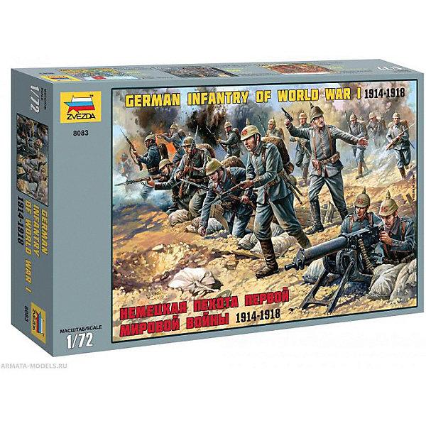 Сборная модель  Немецкая пехота Первой мировой войны 1914-18ггВоенная техника и панорама<br>Характеристики:<br><br>• возраст: от 10 лет;<br>• материал: пластик;<br>• масштаб: 1:72;<br>• в наборе: 41 фигура солдатиков, 1 пулемет;<br>• вес упаковки: 130 гр.;<br>• размер упаковки: 16,2х25,8х3,8 см;<br>• страна производитель: Россия.<br><br>Модель для сборки Zvezda «Немецкая пехота Первой мировой войны 1914-18 гг.» детально изображает военно-исторические миниатюры. Каждый элемент легко и без повреждений отсоединяется от литника. Фигуры можно раскрасить по цветам из инструкции.<br><br>Сборка улучшает внимательность, мелкую моторику и пространственное мышление. Готовые модели выглядят реалистично. Набор выполнен из качественных материалов, соответствующих стандартам безопасности.<br><br>Сборную модель «Немецкая пехота Первой мировой войны 1914-18 гг.» можно купить в нашем интернет-магазине.<br>Ширина мм: 162; Глубина мм: 258; Высота мм: 38; Вес г: 130; Возраст от месяцев: 84; Возраст до месяцев: 2147483647; Пол: Унисекс; Возраст: Детский; SKU: 7459886;