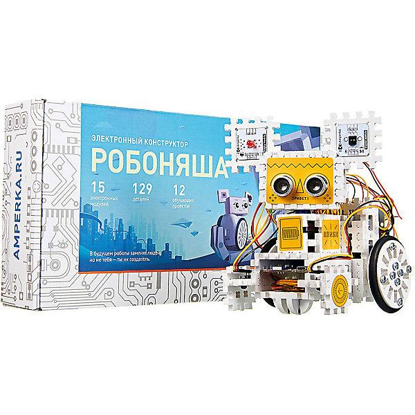 Электронный конструктор Амперка РобоняшаРобототехника и электроника<br>Характеристики товара:<br><br>• возраст: от 12 лет;<br>• размер упаковки: 37х7х18 см;<br>• вес упаковки: 778 гр.;<br>• страна производитель: Россия.<br><br>В комплекте: <br>• электрические двигатели - 2шт; <br>• набор стикеров - 1шт.; <br>• отвертка - 1шт.; <br>• драйвер двигателей motor shield - 1шт.; <br>• аналоговые датчки линии -2 шт.; <br>• пульт управления - 1 шт.; <br>• светодиод - 1шт.; <br>• соеденительные элементы - 61шт.; <br>• встроенный аккумулятор power bank -1т.; <br>• сервопривод - 1шт.; <br>• плата расширения troyka shield - 1шт.; <br>• цифровые датчики линии - 2шт.; <br>• ик-приемник - 1шт.;<br>• ультразвуковой дальномер - 1шт.; <br>• управляющая плата lskra js - 1шт.; <br>• детали корпуса - 50шт.<br><br>Амперка Робоняша способен выполнять различные задачи, которые уже написаны в программном коде и остается лишь подключить необходимые компоненты согласно инструкции. Стоит отметить, что все модули подключаются к одной плате Troyka Shield, в которой даже при подключении всех модулей останется место. Это позволяет в будущем подключить собственные модули с собственными программами к данному роботу.<br><br>Научите Робоняшу следовать по нарисованной линии с аналоговыми датчиками линии.<br><br>Добавьте ультразвуковой дальномер, и Робоняша увидит препятствия.<br>Подключите bluetooth-модуль HC-06 для дистанционного управления роботом с мобильного телефона. Отправляйте команды с бытового ИК-пульта — для этого пригодится ИК-приёмник.<br><br>Установите пару цифровых датчиков линии за колёсами робота и используйте их для подсчёта пройденного расстояния.<br><br>Электронный конструктор Амперка Робоняша можно купить в нашем интернет-магазине.<br>Ширина мм: 175; Глубина мм: 380; Высота мм: 65; Вес г: 998; Возраст от месяцев: 144; Возраст до месяцев: 2147483647; Пол: Унисекс; Возраст: Детский; SKU: 7460213;