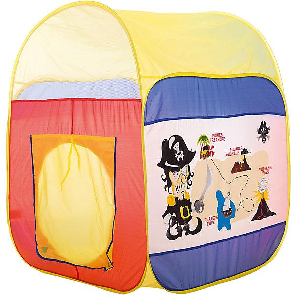 Игровая палатка Shantou Gepai Пират, в сумкеИгровые палатки<br>Характеристики товара:<br><br>• возраст: от 3 лет;<br>• размер палатки: 86х86х110 см.;<br>• цвет: мульколор;<br>• состав: текстиль, пластик, металл;<br>• размер упаковки: 37х5х40 см.;<br>• вес в упаковке: 880 гр.;<br>• упаковка: текстильная сумка с ручками;<br>• бренд, страна: Shantou Gepai, Китай;<br>• страна-производитель: Китай.<br><br>Палатка игровая «Пират» от торговой марки Shantou - это красочная разноцветная палатка, которая может послужить прекрасным домиком для игр малыша.Палатка станет очень хорошим подарком. Препровождение в палатке научит ребенка адаптироваться в любой среде, научит быть самостоятельным и организованным.<br><br>Юные пираты смогут искать тайные сокровища по картам, изображенным на ярких стенах палатки, и прятаться внутри от страшной бури или врагов. Палатку очень легко складывать и брать с собой на природу. Палатка оснащена входом, закрывать его можно специальной шторкой на липучках.<br><br>Палатка идеально подходит для сюжетно-ролевых игр на свежем воздухе или в помещении. В ней одновременно могут поместиться несколько малышей. Палатка сделана из водонепроницаемой ткани, он легко моется в случае необходимости. Очень проста в установке - сама разворачивается за счет каркаса-спирали, есть пол. Схема сборки в изначальное состояние прилагается.<br><br>Ассортимент товаров Shantou, сочетая превосходное качество, яркий и уникальный дизайн,  по праву получил признание миллионов покупателей во всем мире.<br><br>Палатку игровую «Пират», 86х86х110 см., Shantou можно купить в нашем интернет-магазине.<br>Ширина мм: 370; Глубина мм: 50; Высота мм: 400; Вес г: 880; Возраст от месяцев: 36; Возраст до месяцев: 2147483647; Пол: Мужской; Возраст: Детский; SKU: 7460858;