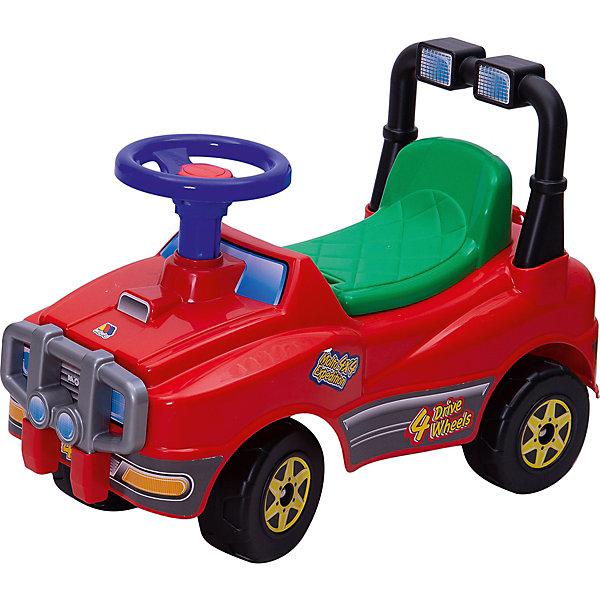 Машина-каталка Полесье Джип, красный (звук)Каталки для малышей<br>Характеристики товара:<br><br>• возраст: от 3 лет;<br>• из чего сделана игрушка (состав): пластик;<br>• размер упаковки: 61х29,5х42,5 см.;<br>• вес: 3 кг.;<br>• допустимый вес эксплуатации: до 20 кг.;<br>• наличие батареек: входят в комплект;<br>• тип батареек: 3хAG13/LR44 таблетки;<br>• высота сиденья: 25 см.;<br>• диаметр колес: 14 см.;<br>• страна обладатель бренда: Беларусь.<br><br>Машина-каталка «Джип» от белорусской компании Polesie предназначена для детей старше 1 года. <br><br>В таком возрасте малыш уже хорошо опирается на ножки, поэтому ему будет легко ездить на машинке.<br><br>У игрушки 4 надежных колеса, широкое сиденье и удобная спинка все условия для того, чтобы ребенку было комфортно в процессе езды. <br><br>Управлять движением можно с помощью руля, который дополнительно оборудован гудком. Катаясь на машинке, ребенок будет весело нажимать на гудок и оповещать всех о своем прибытии.<br><br>Машину-каталку «Джип» можно купить в нашем интернет-магазине.<br>Ширина мм: 610; Глубина мм: 295; Высота мм: 425; Вес г: 2224; Возраст от месяцев: 36; Возраст до месяцев: 2147483647; Пол: Унисекс; Возраст: Детский; SKU: 7462042;