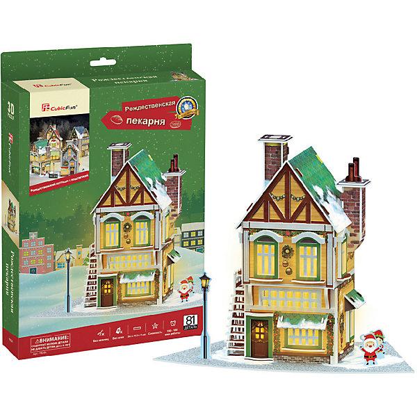 3D пазл CubicFun Рождественская пекарня с подсветкой3D пазлы<br>Характеристики товара:<br><br>• возраст: от 8 лет;<br>• в комплекте: 77 элементов;<br>• материал: картон и пена EPS;<br>• батарейки: 3 шт. типа ААА/LR03 (в комплект не входят);<br>• размер упаковки: 22 х5х33 см;<br>• вес упаковки: 377 гг.;<br>• страна производитель: Китай.<br><br>3D пазл CubicFun Рождественская пекарня с подсветкой создаст настоящее новогодние настроение. Маленький любитель приключений сможет собственными руками соорудить уютную пекарню со свежей выпечкой, где сам Дедушка Мороз уже упаковывает подарки для детишек.<br><br>Пазл помогает в развитии логики и творческого мышления, внимания, воображения и мелкой моторики.<br><br>3D пазл CubicFun Рождественская пекарня с подсветкой можно купить в нашем интернет-магазине.