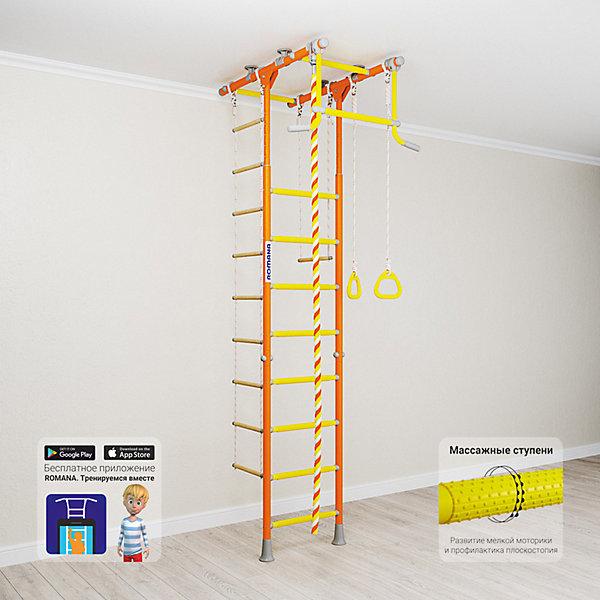 Шведская стенка Romana Kometa 1, оранжеваяШведские стенки<br>Характеристики товара:<br><br>• возраст: от 3 лет;<br>• максимальная нагрузка: 100 кг;<br>• материал: металл;<br>• в комплекте: канат, кольца гимнастические, трапеция, веревочная лестница;<br>• размер стенки: 106х83,5 см;<br>• высота: 235-273 см;<br>• расстояние между стойками: 49 см;<br>• вид крепления: в распор;<br>• размер упаковки: 116х61х14 см;<br>• вес упаковки: 28,21 кг;<br>• страна производитель: Россия.<br><br>Шведская стенка Kometa 1 Romana оранжевая — функциональный спортивный комплекс для ребенка, который поспособствует его физическому развитию, тренировке мышц, координации, равновесия. Устанавливается стенка при помощи креплений в распор: между полом и потолком. Такие крепления не требуют сверления и позволяют менять место стенки в квартире или комнате. <br><br>Стенка Kometa 1 отличается Т-образной рамой. На раме имеются перекладины AntiSlip, которые обеспечивают хороший захват и препятствуют скольжению рук. Выполнена из качественных прочных материалов. С бесплатным приложением «Romana. Тренируемся вместе» ребенок сможет найти много новых упражнений.<br><br>Шведскую стенку Kometa 1 Romana оранжевую можно приобрести в нашем интернет-магазине.<br>Ширина мм: 1160; Глубина мм: 610; Высота мм: 140; Вес г: 28000; Возраст от месяцев: 36; Возраст до месяцев: 2147483647; Пол: Унисекс; Возраст: Детский; SKU: 7479596;