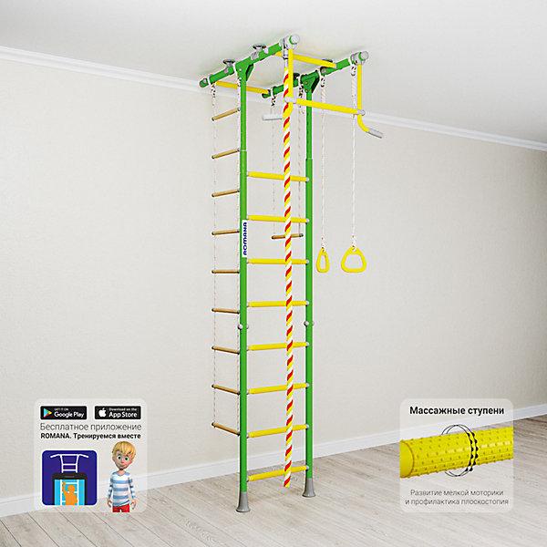 Шведская стенка Romana Kometa 1, зеленое яблокоШведские стенки<br>Характеристики товара:<br><br>• возраст: от 3 лет;<br>• максимальная нагрузка: 100 кг;<br>• материал: металл;<br>• в комплекте: канат, кольца гимнастические, трапеция, веревочная лестница;<br>• размер стенки: 106х83,5 см;<br>• высота: 235-273 см;<br>• расстояние между стойками: 49 см;<br>• вид крепления: в распор;<br>• размер упаковки: 116х61х14 см;<br>• вес упаковки: 28,21 кг;<br>• страна производитель: Россия.<br><br>Шведская стенка Kometa 1 Romana зеленое яблоко — функциональный спортивный комплекс для ребенка, который поспособствует его физическому развитию, тренировке мышц, координации, равновесия. Устанавливается стенка при помощи креплений в распор: между полом и потолком. Такие крепления не требуют сверления и позволяют менять место стенки в квартире или комнате. <br><br>Стенка Kometa 1 отличается Т-образной рамой. На раме имеются перекладины AntiSlip, которые обеспечивают хороший захват и препятствуют скольжению рук. Выполнена из качественных прочных материалов. С бесплатным приложением «Romana. Тренируемся вместе» ребенок сможет найти много новых упражнений.<br><br>Шведскую стенку Kometa 1 Romana зеленое яблоко можно приобрести в нашем интернет-магазине.<br>Ширина мм: 1160; Глубина мм: 610; Высота мм: 140; Вес г: 28000; Возраст от месяцев: 36; Возраст до месяцев: 2147483647; Пол: Унисекс; Возраст: Детский; SKU: 7479632;