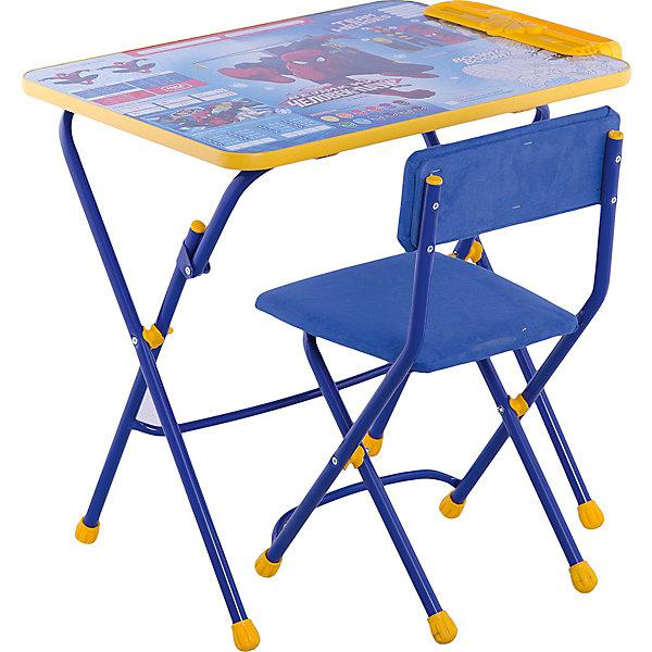 Комплект мебели Nika Kids Человек-ПаукДетские столы и стулья<br>Характеристики:<br><br>• возраст: от 3 лет;<br>• материал: металл, пластик;<br>• размер: столешницы - 60х45 см, сиденья - 31х27 см;<br>• встроенный пенал;<br>• подставка для ног;<br>• мягкий стул;<br>• высота: стол - 58 см, спинка стула - 57 см, до сиденья - 32 см;<br>• вес упаковки: 7,7 кг.;<br>• размер упаковки: 75х61,5х16 см;<br>• страна производитель: Россия.<br><br>Комплект из стола и стула от Nika станет первым собственным рабочим местом малыша. Удобная конструкция делает столик универсальным и для совсем юных, и для подросших детей.<br><br>Поверхность столешницы имеет глянцевое цветное покрытие с обучающими рисунками. Подходит для рисования маркерами на водной основе. Скругленные углы столешницы обеспечивают безопасное использование.<br><br>Сиденье и спинка стула мягкие, что делает занятия комфортнее. Комплект разработан из качественных материалов с учетом правильного развития детской осанки. Отлично подойдет для обучения и игр.<br><br>Комплект «Человек-паук» Д3Ч можно купить в нашем интернет-магазине.<br>Ширина мм: 750; Глубина мм: 615; Высота мм: 160; Вес г: 7700; Цвет: синий; Возраст от месяцев: 36; Возраст до месяцев: 84; Пол: Женский; Возраст: Детский; SKU: 7483529;