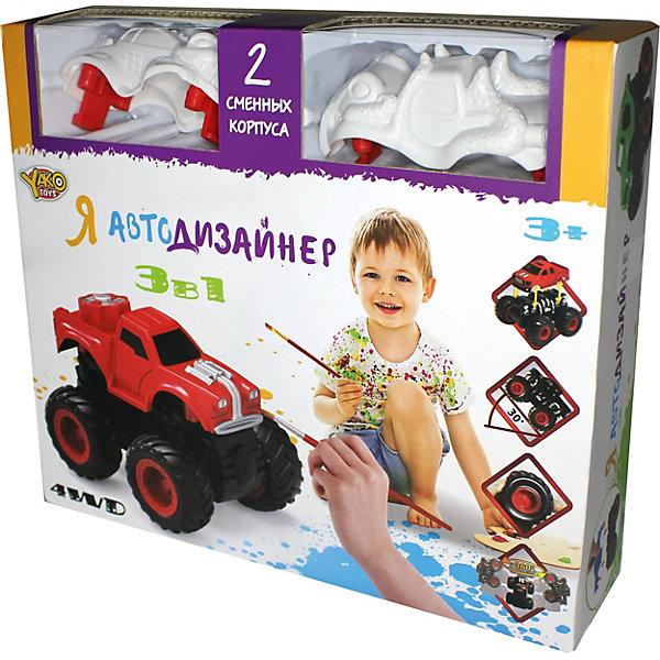 Я Автодизайнер, Игровой набор 3 в 1, YakoАвтомобили<br>Характеристики:<br><br>• возраст: от 3 лет<br>• в наборе: полноприводная машина с 2-мя корпусами под раскраску; набор акриловых красок на водной основе (5 цветов); 2 кисточки; стаканчик.<br>• характеристики машины: мягкие колеса; съемный корпус; мощный привод для трюков; подъем на дыбы; преодолевает препятствия; кручение на задних колесах.<br>• материал: полимерный материал с элементами из металла<br>• упаковка: картонная коробка<br>• размер упаковки: 25x6,5x22 см.<br>• вес: 274 гр.<br><br>Набор с полноприводной машиной и 2-мя корпусами под раскраску приведет в восторг юного автогонщика.<br><br>Машина имеет особую конструкцию, предполагающую связь всех 4-х колёс и мощный инерционный механизм. Тип инерционного механизма – фрикционный, т.е. машину можно разогнать, сделав несколько поступательных движений, прижимая её к поверхности. При постановке машины «на дыбы» (вертикально на задних колёсах) она вращается вокруг своей оси.<br><br>В состав набора включены краски, кисточки, стаканчик и 2 сменных корпуса под раскраску, что позволяет изменить внешний облик машины. Смена корпуса производится с помощью нажатия на кнопку, расположенную сзади на базовой части машины.<br><br>Набор выполнен из материалов высокого качества, имеет требуемый сертификат соответствия.<br><br>Игровой набор 3 в 1 «Я Автодизайнер» Yako (Йако) можно купить в нашем интернет-магазине.<br>Ширина мм: 250; Глубина мм: 65; Высота мм: 220; Вес г: 274; Возраст от месяцев: 36; Возраст до месяцев: 108; Пол: Мужской; Возраст: Детский; SKU: 7490413;