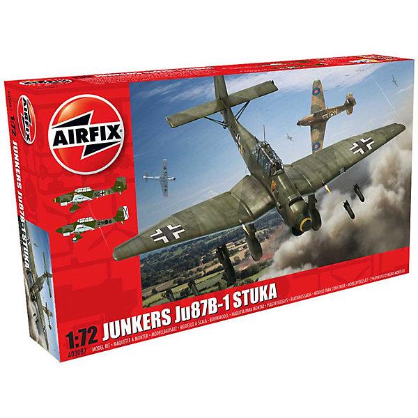 Сборная модель Airfix Самолет Junkers Ju87 B-1 Stuka 1:72Самолеты и вертолеты<br>Характеристики:<br><br>• возраст: от 8 лет;<br>• материал: пластик;<br>• масштаб: 1:72;<br>• количество элементов: 110;<br>• схема покраски;<br>• клей и краски: не в наборе;<br>• длина модели: 15,2 см;<br>• размах крыльев: 19,2 см;<br>• вес упаковки: 190 гр.;<br>• размер упаковки: 28,2х16,3х5,1 см;<br>• страна бренда: Великобритания.<br><br>Модель для сборки Junkers Ju87 B-1 Stuka от Airfix изображает одноименный немецкий военный самолет. Каждая деталь выполнена из качественного пластика, элементы детализированы под покраску.<br><br>В подробной инструкции описаны шаги к созданию идентичной копии самолета. Конструирование модели развивает усидчивость и внимательность, повышает творческие способности и задействует пространственное мышление.<br><br>Готовая модель может стать отличным подарком близким, личным сувениром или частью коллекции сборных моделей.<br><br>Сборную модель Junkers Ju87 B-1 Stuka 1:72 можно купить в нашем интернет-магазине.<br>Ширина мм: 282; Глубина мм: 163; Высота мм: 51; Вес г: 190; Возраст от месяцев: 96; Возраст до месяцев: 2147483647; Пол: Мужской; Возраст: Детский; SKU: 7490437;