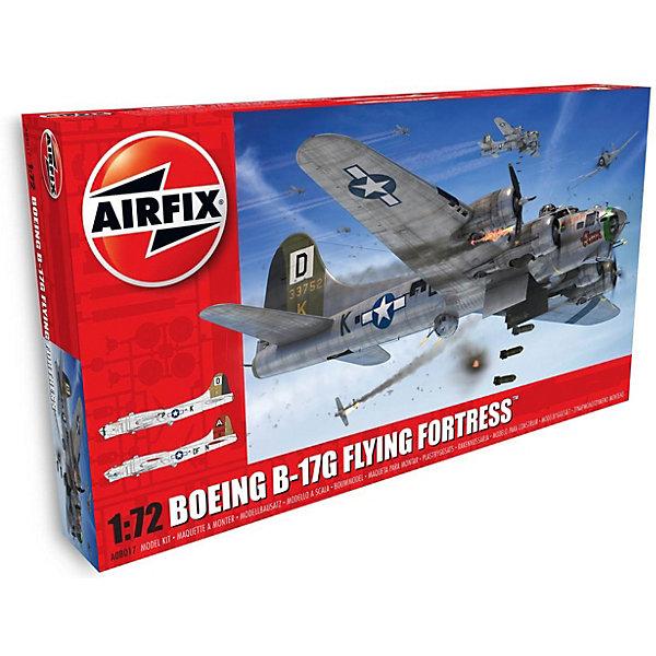 Сборная модель Airfix Самолет Boeing B17G Flying Fortress 1:72Самолеты и вертолеты<br>Характеристики:<br><br>• возраст: от 8 лет;<br>• материал: пластик;<br>• масштаб: 1:72;<br>• количество элементов: 245;<br>• схема покраски;<br>• клей и краски: не в наборе;<br>• длина модели: 32 см;<br>• размах крыльев: 43,8 см;<br>• вес упаковки: 737 гр.;<br>• размер упаковки: 45,6х25,1х7 см;<br>• страна бренда: Великобритания.<br><br>Модель для сборки Boeing B17G Flying Fortress от Airfix изображает одноименный тяжелый бомбардировщик США, ставший легендарным. Каждая деталь выполнена из качественного пластика, элементы детализированы под покраску.<br><br>В подробной инструкции описаны шаги к созданию идентичной копии самолета. Конструирование модели развивает усидчивость и внимательность, повышает творческие способности и задействует пространственное мышление.<br><br>Готовая модель может стать отличным подарком близким, личным сувениром или частью коллекции сборных моделей.<br><br>Сборную модель Boeing B17G Flying Fortress 1:72 можно купить в нашем интернет-магазине.<br>Ширина мм: 456; Глубина мм: 251; Высота мм: 70; Вес г: 737; Возраст от месяцев: 96; Возраст до месяцев: 2147483647; Пол: Мужской; Возраст: Детский; SKU: 7490456;