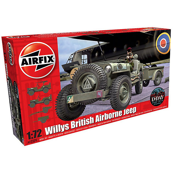 Airfix Сборная модель Airfix Автомобиль Willys Jeep Trailer & Howitzer 3pcs baby boys formal shirts vest pants set fashion toddler gentlemen outfit long sleeve shirt vest pant set for 2 7 years boys