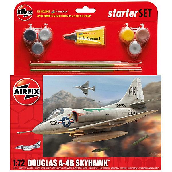 Подарочный набор Airfix Самолет Douglas A4AirfixB Skyhawk 1:72Самолеты и вертолеты<br>Характеристики:<br><br>• возраст: от 8 лет;<br>• материал: пластик;<br>• количество элементов: 75;<br>• масштаб: 1:72;<br>• схема покраски;<br>• в наборе: клей, 2 кисточки, 6 красок;<br>• вес упаковки: 205 гр.;<br>• размер упаковки: 23,2х4,6х25 см;<br>• страна бренда: Великобритания.<br><br>Модель для сборки Douglas A4-B Skyhawk от Airfix изображает одноименный американский штурмовик. Каждая деталь выполнена из качественного пластика, элементы детализированы под покраску.<br><br>В подробной инструкции описаны шаги к созданию идентичной копии самолета. Конструирование модели развивает усидчивость и внимательность, повышает творческие способности и задействует пространственное мышление. Набор подойдет для начинающих и практикующих моделистов.<br><br>Готовая модель может стать отличным подарком близким, личным сувениром или частью коллекции сборных моделей.<br><br>Подарочный набор – Douglas A4-B Skyhawk 1:72 можно купить в нашем интернет-магазине.<br>Ширина мм: 232; Глубина мм: 46; Высота мм: 250; Вес г: 205; Возраст от месяцев: 96; Возраст до месяцев: 2147483647; Пол: Мужской; Возраст: Детский; SKU: 7490493;