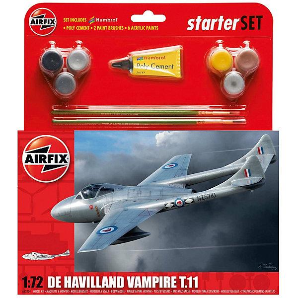 Подарочный набор Airfix Самолет De Havilland Vampire T11 1:72Самолеты и вертолеты<br>Характеристики:<br><br>• возраст: от 8 лет;<br>• материал: пластик;<br>• количество элементов: 55;<br>• масштаб: 1:72;<br>• схема покраски;<br>• в наборе: клей, 2 кисточки, 6 красок;<br>• длина модели: 14,6 см;<br>• размах крыльев: 16,1 см;<br>• вес упаковки: 180 гр.;<br>• размер упаковки: 23х4,6х25 см;<br>• страна бренда: Великобритания.<br><br>Модель для сборки De Havilland Vampire T11 от Airfix изображает одноименный учебный реактивный самолет. Каждая деталь выполнена из качественного пластика, элементы детализированы под покраску.<br><br>В подробной инструкции описаны шаги к созданию идентичной копии самолета. Конструирование модели развивает усидчивость и внимательность, повышает творческие способности и задействует пространственное мышление. Набор подойдет для начинающих и практикующих моделистов.<br><br>Готовая модель может стать отличным подарком близким, личным сувениром или частью коллекции сборных моделей.<br><br>Подарочный набор – De Havilland Vampire T11 1:72 можно купить в нашем интернет-магазине.<br>Ширина мм: 230; Глубина мм: 46; Высота мм: 250; Вес г: 180; Возраст от месяцев: 96; Возраст до месяцев: 2147483647; Пол: Мужской; Возраст: Детский; SKU: 7490494;
