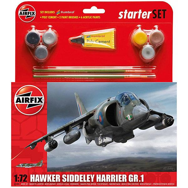 Подарочный набор Airfix Самолет Hawker Harrier GR1 1:72Самолеты и вертолеты<br>Характеристики:<br><br>• возраст: от 8 лет;<br>• материал: пластик;<br>• количество элементов: 89;<br>• масштаб: 1:72;<br>• схема покраски;<br>• в наборе: клей, 2 кисточки, 6 красок;<br>• длина модели: 19,3 см;<br>• размах крыльев: 10,7 см;<br>• вес упаковки: 222 гр.;<br>• размер упаковки: 23,2х4,6х25 см;<br>• страна бренда: Великобритания.<br><br>Модель для сборки Hawker Harrier GR1 от Airfix изображает одноименный самолет вертикального взлета и посадки. Каждая деталь выполнена из качественного пластика, элементы детализированы под покраску.<br><br>В подробной инструкции описаны шаги к созданию идентичной копии самолета. Конструирование модели развивает усидчивость и внимательность, повышает творческие способности и задействует пространственное мышление. Набор подойдет для начинающих и практикующих моделистов.<br><br>Готовая модель может стать отличным подарком близким, личным сувениром или частью коллекции сборных моделей.<br><br>Подарочный набор – Hawker Harrier GR1 1:72 можно купить в нашем интернет-магазине.<br>Ширина мм: 232; Глубина мм: 46; Высота мм: 250; Вес г: 222; Возраст от месяцев: 96; Возраст до месяцев: 2147483647; Пол: Мужской; Возраст: Детский; SKU: 7490495;