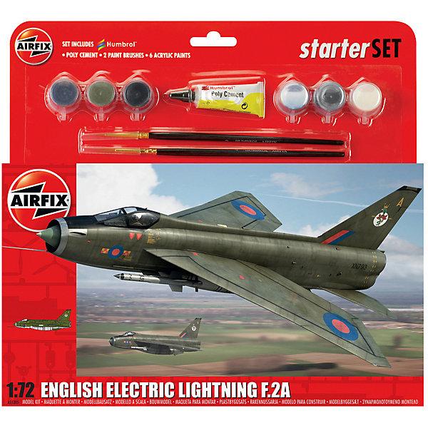 Подарочный набор  Airfix Истребитель English Electric Lightning F.2A 1:72Самолеты и вертолеты<br>Характеристики:<br><br>• возраст: от 8 лет;<br>• материал: пластик;<br>• количество элементов: 92;<br>• масштаб: 1:72;<br>• схема покраски;<br>• в наборе: клей, 2 кисточки, 6 красок;<br>• длина модели: 23,5 см;<br>• размах крыльев: 14,8 см;<br>• вес упаковки: 296 гр.;<br>• размер упаковки: 28х6х26,8 см;<br>• страна бренда: Великобритания.<br><br>Модель для сборки English Electric Lightning F.2A от Airfix изображает одноименный сверхзвуковой реактивный истребитель Англии. Каждая деталь выполнена из качественного пластика, элементы детализированы под покраску.<br><br>В подробной инструкции описаны шаги к созданию идентичной копии самолета. Конструирование модели развивает усидчивость и внимательность, повышает творческие способности и задействует пространственное мышление. Набор подойдет для начинающих и практикующих моделистов.<br><br>Готовая модель может стать отличным подарком близким, личным сувениром или частью коллекции сборных моделей.<br><br>Подарочный набор большой – English Electric Lightning F.2A 1:72 можно купить в нашем интернет-магазине.<br>Ширина мм: 280; Глубина мм: 60; Высота мм: 268; Вес г: 296; Возраст от месяцев: 96; Возраст до месяцев: 2147483647; Пол: Мужской; Возраст: Детский; SKU: 7490504;