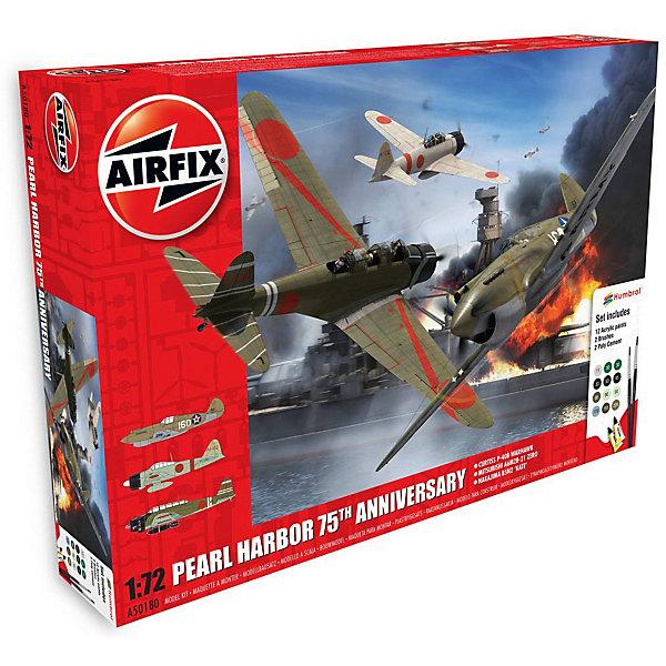 Подарочный набор Самолеты Pearl Harbor - 75я годовщина 1:72Самолеты и вертолеты<br>Характеристики:<br><br>• возраст: от 8 лет;<br>• материал: пластик;<br>• масштаб: 1:72;<br>• схема покраски;<br>• в комплекте: клей, 2 кисточки, 12 красок;<br>• набор: японский истребитель Mitsubishi A6M2b Zero – 12,6х16,6 см (47 деталей); палубный ударный бомбардировщик Nakajima B5N1 Kate – 14,3х21,6 см (107 деталей); Американский истребитель Curtiss P40 – 13,4х15,8 см (47 деталей);<br>• вес упаковки: 516 гр.;<br>• размер упаковки: 37,4х26,2х7 см;<br>• страна бренда: Великобритания.<br><br>Три модели для сборки из набора «Pearl Harbor – 75-я годовщина» от Airfix изображают военные самолеты, участвовавшие в нападении на гавань Перл-Харбор и ее защите. Каждая деталь выполнена из качественного пластика, элементы детализированы под покраску.<br><br>В подробной инструкции описаны шаги к созданию идентичных копий самолетов. Конструирование развивает усидчивость и внимательность, повышает творческие способности и задействует пространственное мышление. Набор подойдет для практикующих моделистов.<br><br>Готовые модели могут стать отличным подарком близким, личным сувениром или частью коллекции сборных моделей.<br><br>Подарочный набор Pearl Harbor – 75я годовщина (3 самолета) 1:72 можно купить в нашем интернет-магазине.<br>Ширина мм: 374; Глубина мм: 262; Высота мм: 70; Вес г: 516; Возраст от месяцев: 96; Возраст до месяцев: 2147483647; Пол: Мужской; Возраст: Детский; SKU: 7490509;