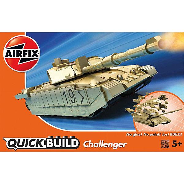 Конструктор Airfix Танк ChallengerВоенная техника и панорама<br>Характеристики:<br><br>• возраст: от 5 лет;<br>• материал: пластик;<br>• количество элементов: 35;<br>• размер модели: 21,6х7,5 см;<br>• вес упаковки: 167 гр.;<br>• размер упаковки: 23х15х5 см;<br>• страна бренда: Великобритания.<br><br>Модель-конструктор танка серии Quickbuild от Airfix отличается от классических сборных моделей тем, что для ее создания не нужен клей и красители – все элементы уже покрыты стойкой невыцветающей краской, а детали надежно соединяются между собой по принципу конструктора.<br><br>Сборка развивает усидчивость и внимательность, повышает творческие способности и задействует пространственное мышление. Набор подойдет даже для совсем юных моделистов. Готовая модель может стать отличным подарком близким, личным сувениром или частью коллекции.<br><br>Модель-конструктор Quickbuild Challenger Tank можно купить в нашем интернет-магазине.<br>Ширина мм: 232; Глубина мм: 150; Высота мм: 50; Вес г: 167; Возраст от месяцев: 60; Возраст до месяцев: 2147483647; Пол: Мужской; Возраст: Детский; SKU: 7490522;