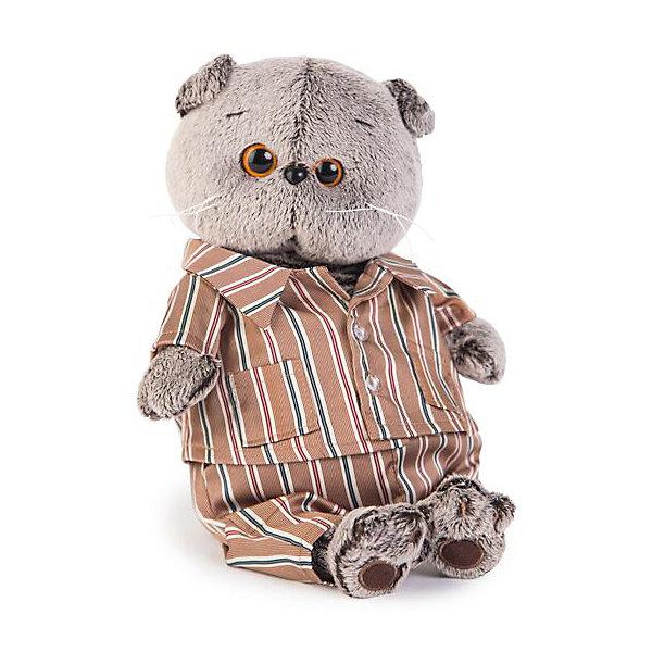 Budi Basa Мягкая игрушка Budi Basa Кот Басик в шелковой пижаме, 19 см budi basa budi basa мягкая игрушка басик baby в колпаке со снеговичком 30 см