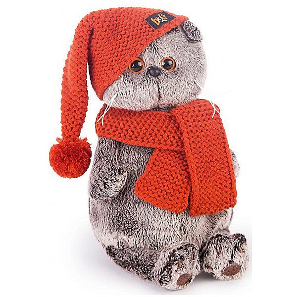Budi Basa Мягкая игрушка Budi Basa Кот Басик в вязаной шапке и шарфе, 22 см budi basa budi basa мягкая игрушка басик baby в колпаке со снеговичком 30 см