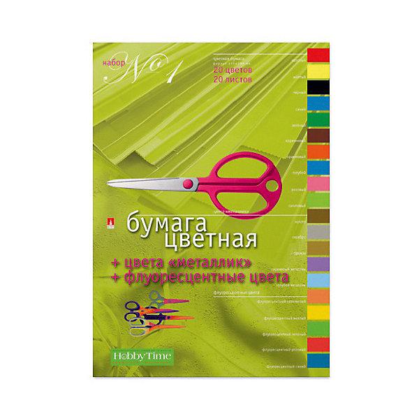Альт Набор цветной бумаги № 1 Альт А4, 20 листов (флуорисцентная) блок цветной премиум bvg 148 5 105см 200 листов