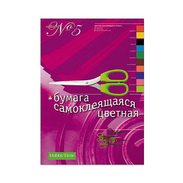 Альт Набор цветной бумаги № 5 Альт А4, 10 листов (свмоклеющаяся) sadipal бумаги флюоресцентная 5 цветов 5 листов 15429