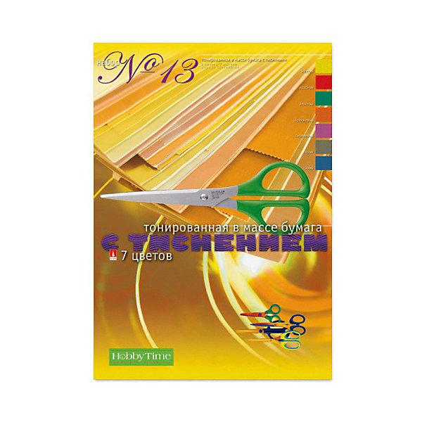 Альт Набор цветной бумаги № 13 Альт А4, 7 листов (тонированная с фактурным тиснением) набор цветной бумаги альт мультики газетная бумага ф а4 7цв 14л 4 дизайна