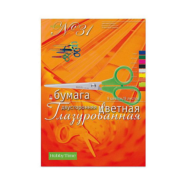 Альт Набор цветной бумаги № 31 А4, 9 листов (двухсторонняя, глазурированная)
