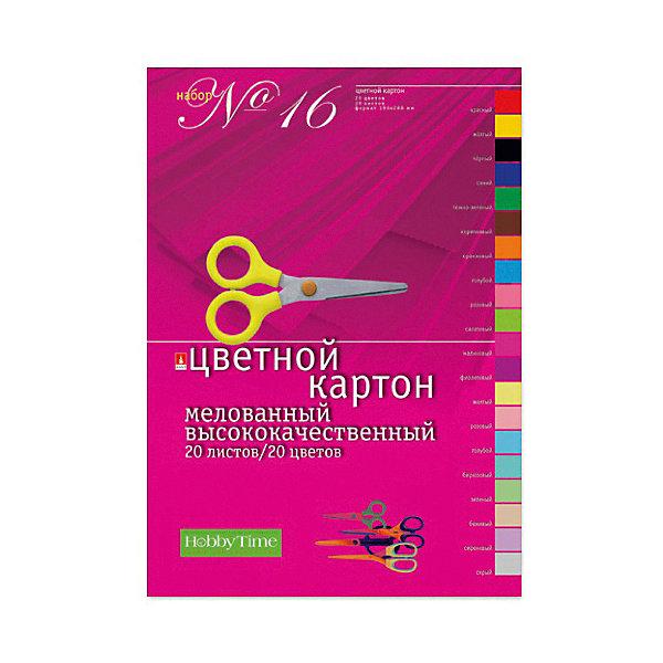 Альт Набор цветного картона № 16 Альт А4, 20 листов (мелованный) набор для творчества альт декоративные наклейки из фоамирана набор 16 фиалки