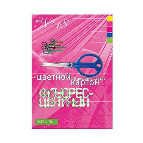 Альт Набор цветного картона № 18 Альт А4, 10 листов (флуорисцентный) набор цветного картона а4 10 л 10 цв набор 22 двусторонний