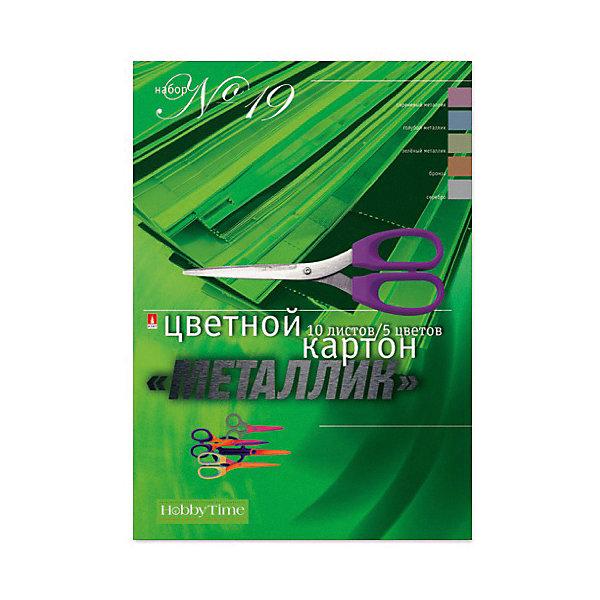 Альт Набор цветного картона № 19 Альт А4, 10 листов (металлик) набор цветного картона а4 10 л 10 цв набор 22 двусторонний