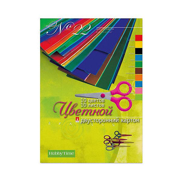 Альт Набор цветного картона № 22 Альт А4, 10 листов (двухсторонний) набор цветного картона а4 10 л 10 цв набор 22 двусторонний