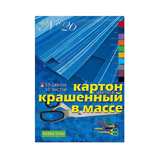 Альт Набор цветного картона № 26 Альт А4, 10 листов (крашенный в массе) набор цветного бархатного картона а4 5цв 5л art idea 13 22225 y204