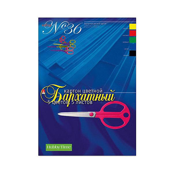 цена на Альт Набор цветного картона № 36 Альт А4, 5 листов (бархатный)