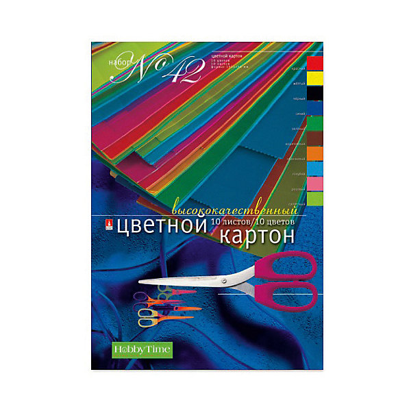 Альт Набор цветного картона № 42 Альт А4, 10 листов набор цветного картона а4 10 л 10 цв набор 22 двусторонний