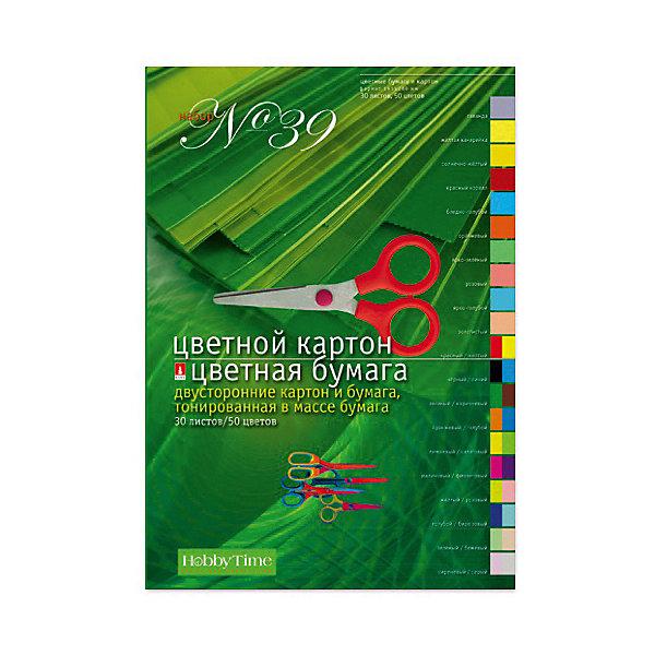 Альт Набор цветной бумаги и картона № 39 А4, 10 листов картона, 20