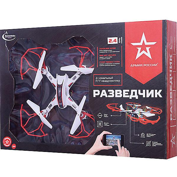 Квадрокоптер Властелин Небес «Разведчик» (видео)Квадрокоптеры<br>Характеристики:<br><br>• тип игрушки: квадракоптер;<br>• возраст: от 12 лет;<br>• размер: 56х9х37 см;<br>• вес: 750 гр;<br>• тип батареек: 4 x AA / LR6 1.5V (пальчиковые) - для пульта;<br>• наличие батареек: в комплект не входят;<br>• дальность действия: 30-70 м;<br>• комплект: квадрокоптер, пульт р/у с креплением для смартфона, аккумулятор, USB-шнур, запасные винты, отвертка, инструкция;<br>• материал: пластик, металл;<br>• бренд: Властелин небес;<br>• страна бренда: Россия.<br><br>Квадрокоптер р/у Властелин Небес «Разведчик» обладает действительно впечатляющими возможностями.Это не просто игрушка, но функциональное средство наблюдения. Обладая встроенной камерой, квадрокоптер может как делать фотографии, так и транслировать видео на смартфон. <br><br>Также он обладает функцией записи видео. С помощью функционала headless mode он может удерживать верное направление. Литиевый аккумулятор поддерживает около десяти минут стабильного полета и полной работы функционала квадрокоптера. Ну а яркие полетные огни делают игрушку очень заметной, что все же лишает ее определенной угрозы подглядывания, превращая в развлечение.<br><br>Квадрокоптер р/у Властелин Небес «Разведчик» можно купить в нашем интернет-магазине.<br>Ширина мм: 560; Глубина мм: 90; Высота мм: 370; Вес г: 750; Возраст от месяцев: 144; Возраст до месяцев: 2147483647; Пол: Унисекс; Возраст: Детский; SKU: 7502335;