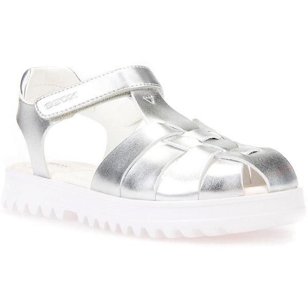 GEOX Сандалии GEOX для девочки сандалии для девочки worldcolors цвет серебристый 021 036g размер 20 21