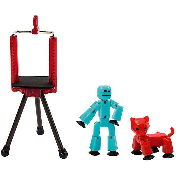 Zing Игровой набор Stikbot Студия с питомцем, Человечек красной кошкой