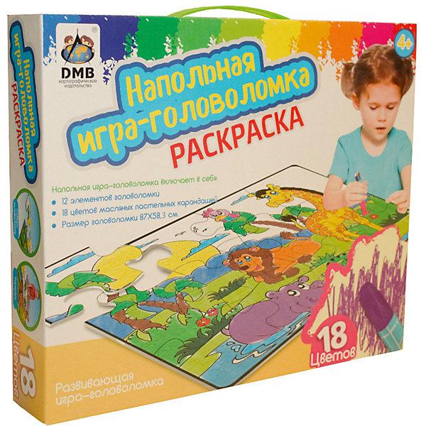 Напольный пазл-раскраска Джунгли с карандашами, 18 цветовКоврики-пазлы<br>Характеристики товара:<br>• возраст: от 4 лет;<br>• количество деталей: 12 шт;<br>• материал: картон;<br>• размер упаковки: 33х21х5 см;<br>• комплектация: пазлы, маслянные карандаши 18 шт;<br>• вес упаковки: 1100гр.;<br>• страна производитель: Китай.<br>Напольный пазл-раскраска DMB (ДМБ) Джунгли – это отличный способ увлекательно провести досуг, развить моторику, логическое и творческое мышление ребенка. Крупные элементы с изображением красивых зверушек можно собирать как на столе, так и на полу. Элементы выполнены из высококачественного картона и легко соединяются друг с другом. После сборки пазл можно раскасить маслянными карандашами, пастельных цветов, которые входят в комплект.<br>Напольный пазл-раскраска DMB (ДМБ) Джунгли можно купить в нашем интернет-магазине.<br>Ширина мм: 330; Глубина мм: 210; Высота мм: 45; Вес г: 1100; Возраст от месяцев: 48; Возраст до месяцев: 2147483647; Пол: Унисекс; Возраст: Детский; SKU: 7534937;