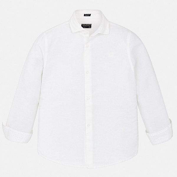 Рубашка Mayoral для мальчикаБлузки и рубашки<br>Характеристики товара:<br><br>• цвет: белый<br>• состав ткани: 70% хлопок, 30% лен<br>• сезон: демисезон<br>• застежка: пуговицы<br>• длинные рукава<br>• страна бренда: Испания<br>• стиль и качество<br><br>Белая хлопковая рубашка для мальчика от Майорал поможет создать стильный и удобный наряд. Детская рубашка отличается модным и продуманным дизайном. В рубашке для мальчика от испанской компании Майорал ребенок будет выглядеть оригинально и аккуратно. <br><br>Рубашку Mayoral (Майорал) для мальчика можно купить в нашем интернет-магазине.<br>Ширина мм: 174; Глубина мм: 10; Высота мм: 169; Вес г: 157; Цвет: белый; Возраст от месяцев: 96; Возраст до месяцев: 108; Пол: Мужской; Возраст: Детский; Размер: 128/134,170,164,158,152,140; SKU: 7537712;